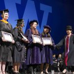 Students receiving awards at Convocation