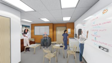 Artist rendering of the simulation center home environment