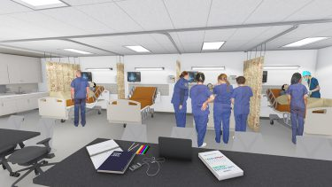 Artist rendering of the simulation center inpatient unit